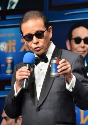 缶コーヒーの新CM発表会でのタモリさん=2014年8月29日、国島貴志撮影