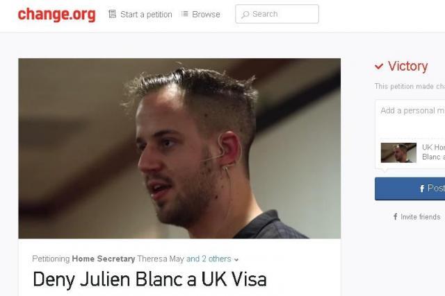 イギリス入国阻止を求めるオンライン署名キャンペーン。15万人超が賛同した
