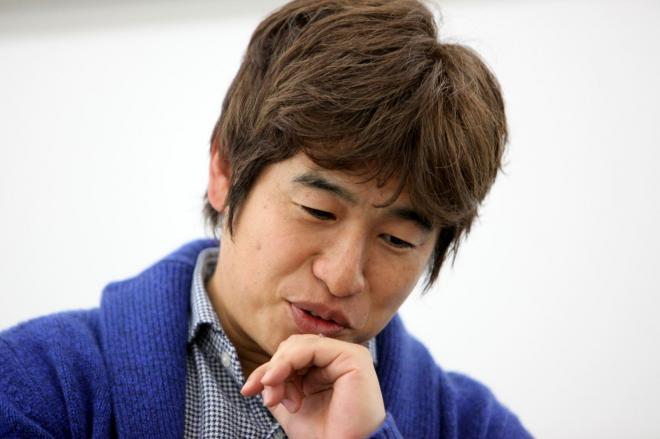 インタビューに応じるKADOKAWA・DWANGOの川上量生会長=古田大輔撮影