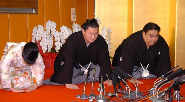 横綱に昇進した白鵬=2007年、筋野健太撮影