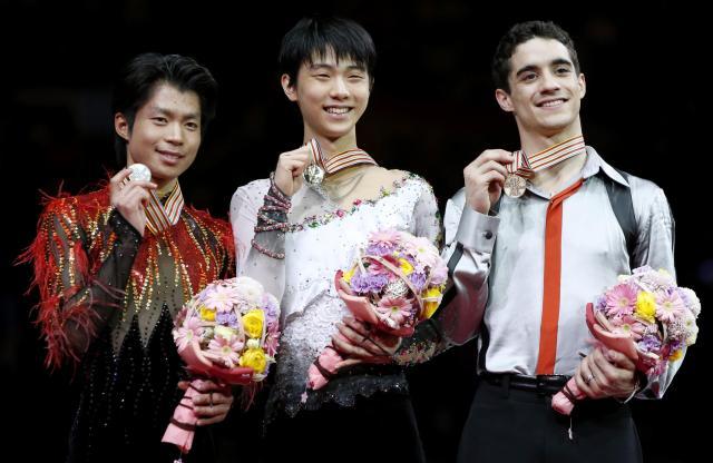 さいたま市で行われた世界選手権では羽生結弦が優勝、町田樹は2位、ハビエル・フェルナンデスは3位に=3月28日、さいたまスーパーアリーナ