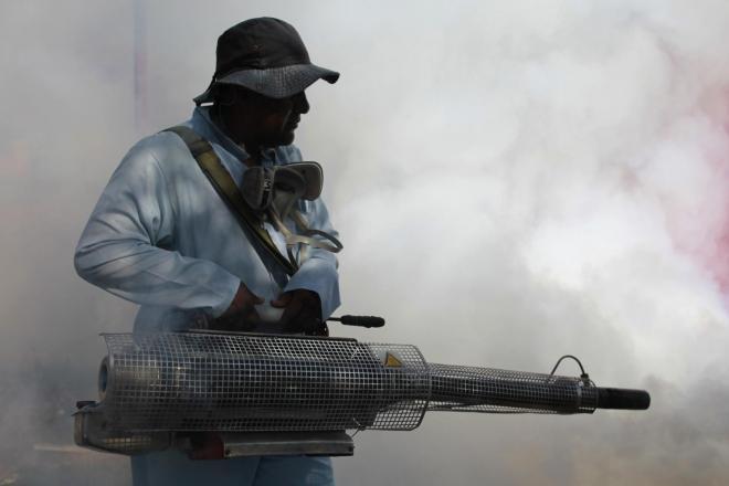 ホンジュラスの首都テグシガルパで、チクングニア熱を媒介する蚊を駆除する保健従事者=ロイター