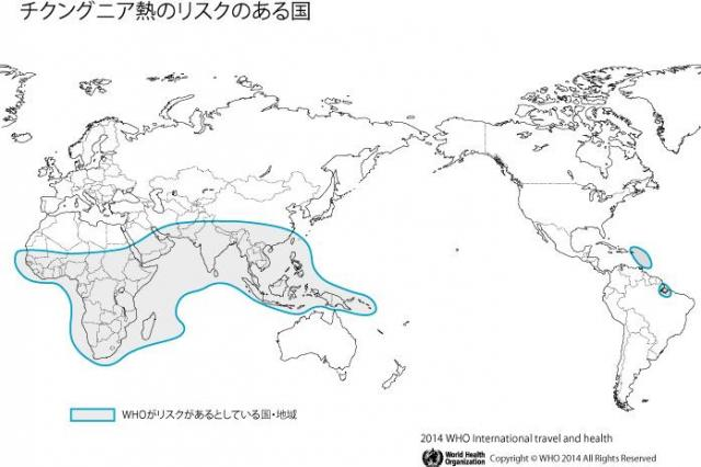 チクングニア熱のリスクのある国=WHO資料から