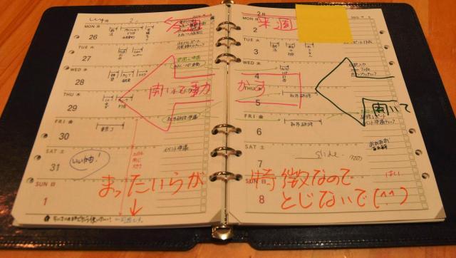 ①左側ページの「今週」が終わると、まず真ん中の金具を開く