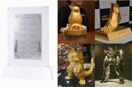 【左】1億円の「アナ雪」カレンダー、【真ん中上】1億円「くまモン」、【右上】5億円「メッシの足」、【右下】3000万円「ガンダム」、【真ん中下】1億5千万円「ゴジラ」
