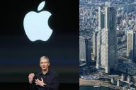 ティム・クックCEO(左)と、アップルの研究開発拠点が進出する予定の横浜市みなとみらい地区にあるランドマークタワー