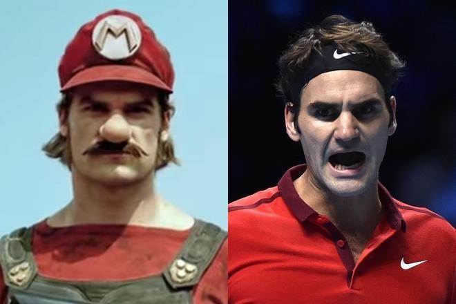 左はメルセデス・ベンツのCMに登場するマリオ(Youtubeより)。右はフェデラー選手(ロイター)