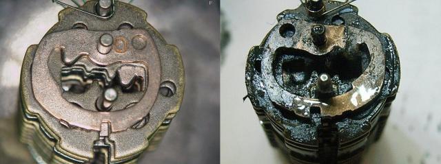 きれいなシリンダー内部(左)。油分の入った潤滑剤を使うと右の画像のようになる=美和ロック提供