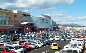 地方のショッピングセンターの駐車場では、黄色いナンバーの軽乗用車が目立つ=2006年11月15日、群馬県高崎市