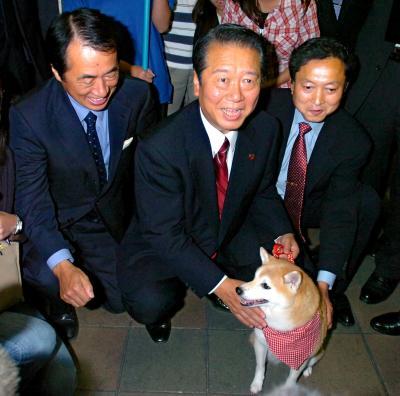 自由党の合流後、「トロイカ体制」で民主党を牽引した菅直人代表代行(左)、鳩山由紀夫幹事長(右)と小沢一郎代表。党CMに出演した、愛犬のシバイヌ「もも」と=2006年10月20日
