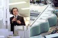 数々の名建築を手がけた黒川紀章氏(左)と、晩年の代表作「国立新美術館」
