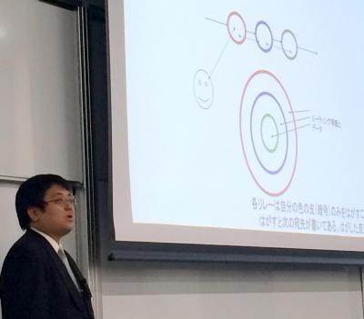 告発サイトで用いる暗号化技術を解説する八田真行氏=早稲田大