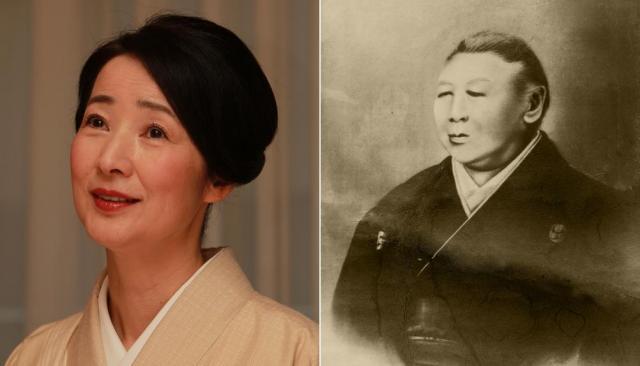 文と吉田松陰らの母、杉滝子(右)と滝子を演じる檀ふみさん