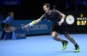 ATPワールドツアー・ファイナルで錦織選手と対戦するマリー選手=2014年11月