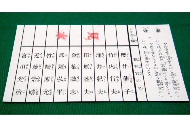 国民審査の投票用紙(見本)。海外ではなぜか投票できない