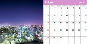 工場の夜景を集めたカレンダー