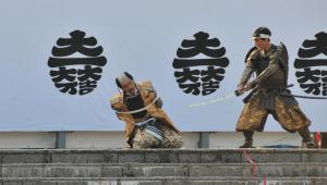 「関ケ原祭り」で関ケ原の戦いを再現する武将隊=2011年10月、関ケ原町