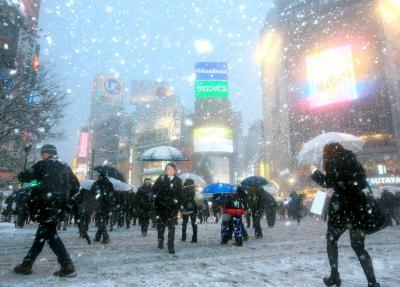 東京・渋谷も大雪に見舞われた=2014年2月8日