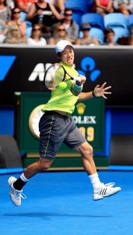 全豪オープン男子シングルス1回戦でアルマグロ(スペイン)を破った錦織圭=2015年1月20日