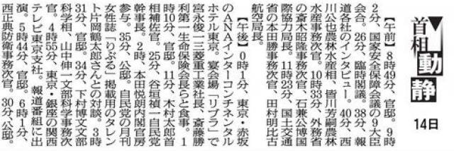 2015年1月14日の首相動静。東京・赤坂のANAインターコンチネンタルホテル東京で、宮永俊一三菱重工業社長、斎藤勝利第一生命保険会長らと食事をしている