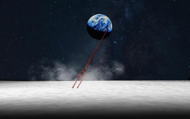 ロンギヌスの槍が月面に刺さる様子(イメージ)