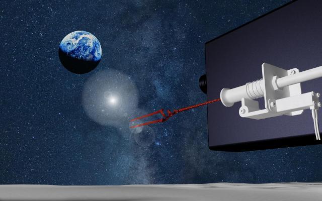 ランダー(月着陸船)から、ロンギヌスの槍を放出し、内蔵カメラで撮影