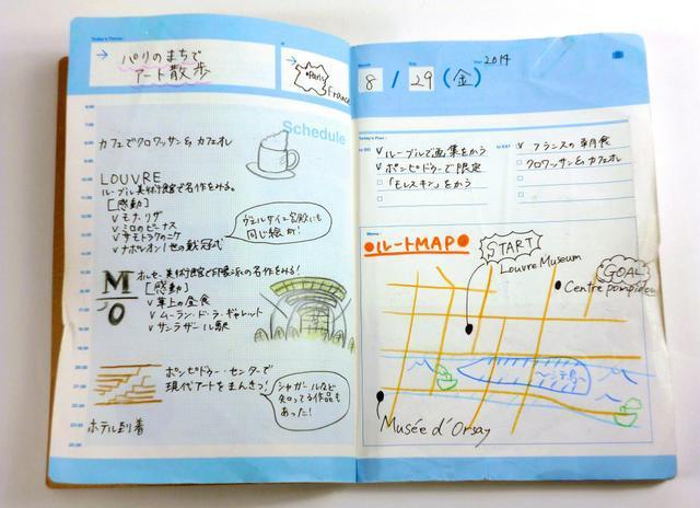 旅行の行程や地図をたっぷりと書ける=東京都渋谷区