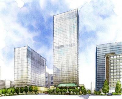 新しいホテルオークラ東京の完成予想図。中央が38階建ての本館