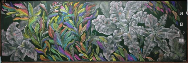 3年5組は「花言葉」。ユリは「純潔」、月桂樹は「栄光」