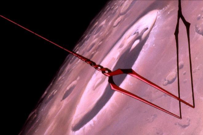 月面にロンギヌスの槍が刺さるアニメのシーン。本当にやったら怒られる?=(c)カラー/EVA製作委員会