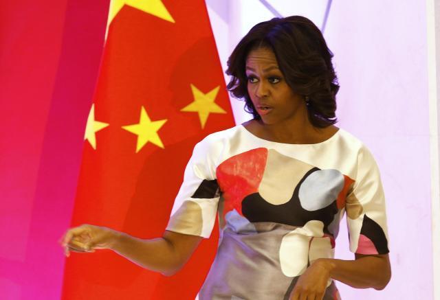 北京大学で講演したミシェル夫人=2014年3月22日、中国