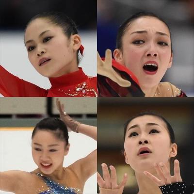 女子フェギュア、五輪上位も狙える松グループ(左上から時計まわりに、宮原知子、本郷理華、樋口新葉、村上佳菜子)