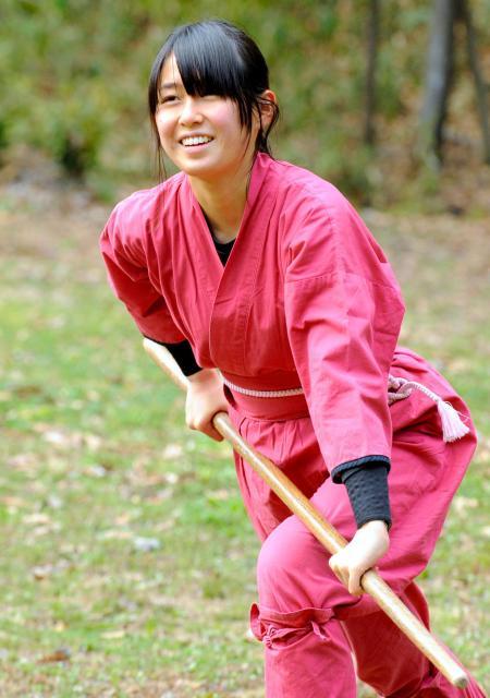「可愛すぎる忍者」の黒井奈々恵さん。「忍者はかっこいいです」=4日午後、奈良県橿原市、滝沢美穂子撮影