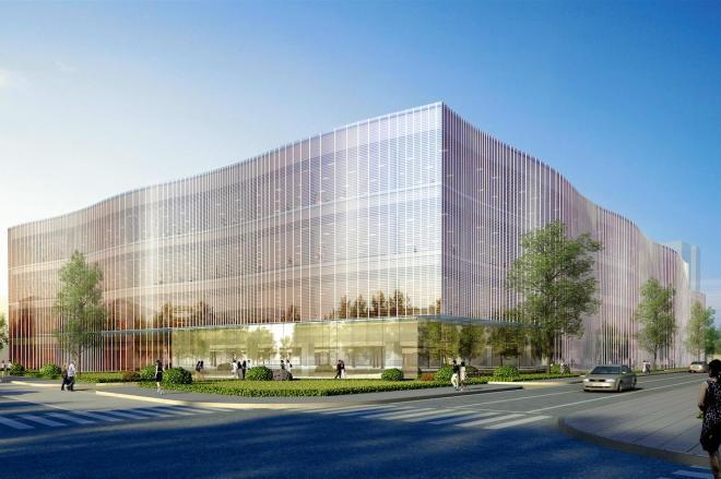 米アップルが横浜市港北区に建てる研究開発施設の完成予想図=アップル提供