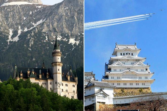「死ぬまでに行きたい!世界のお城」の両巨頭、ドイツ・ノイシュバンシュタイン城(左)と姫路城