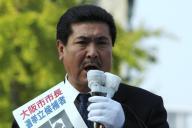 2003年の大阪市長選で演説する羽柴秀吉さん