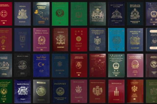 各国・地域のパスポート画像がずらりと並ぶ