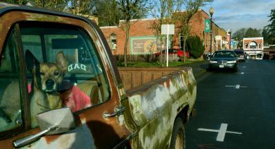 映画「スタンド・バイ・ミー」の撮影が行われたブラウンズビル。街のあちこちに撮影時の雰囲気が残っていた=2012年12月21日、オレゴン州