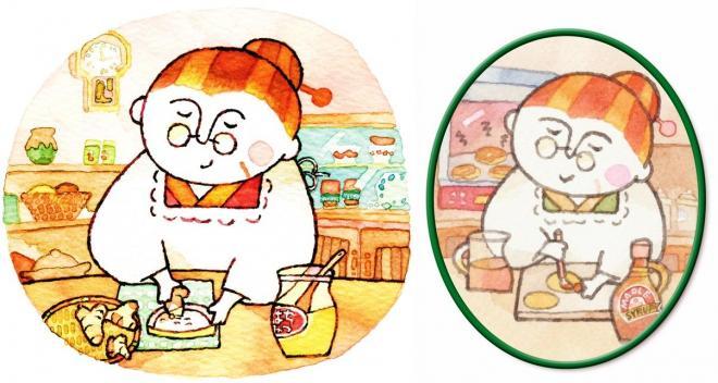 左がはちみつしょうが味、右がメープル味に登場するおばあちゃん。料理の腕は健在らしい