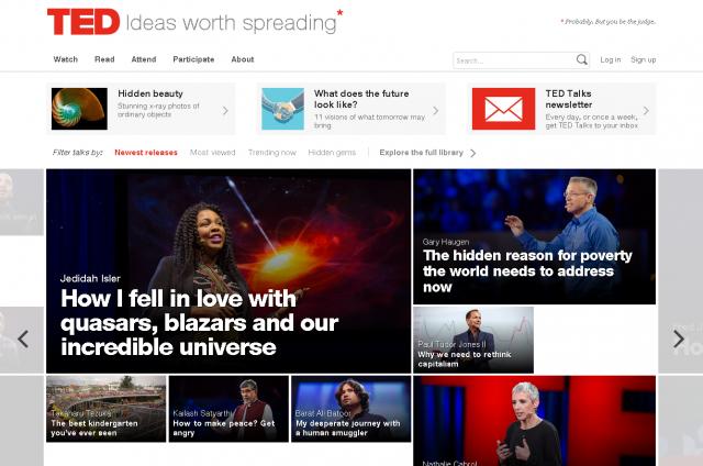 さまざまな英語のスピーチ動画を無料で見ることができる(画像はTEDのホームページより)