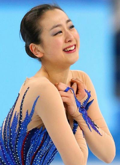 ソチ五輪でフリーの演技を終え、涙をこぼす浅田真央=2014年2月20日、飯塚晋一撮影