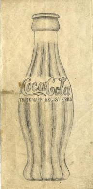 コカ・コーラのボトルの原画スケッチ