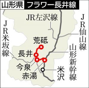 フラワー長井線の路線(赤湯―荒砥)。山形県の置賜地方を走る