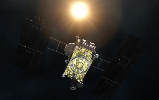 小惑星探査機「はやぶさ2」のCG=白井政行作製