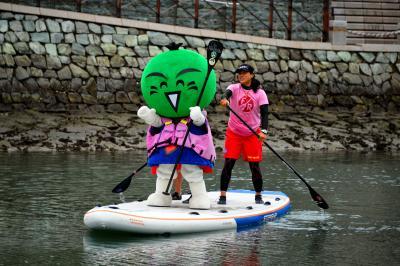 立ち乗りボートに挑戦し、体を張って徳島の水辺の魅力をPRするすだちくん=2015年5月17日