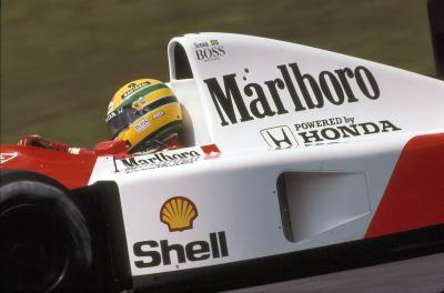 1991年にホンダエンジンを搭載した「マクラーレンMP4/6」。この年、故アイルトン・セナとホンダにとって、最後の王座に輝く=原富治雄さん撮影