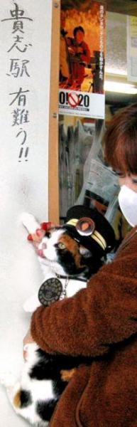 2010年1月16日 駅舎に肉球スタンプを押すたま駅長=和歌山県紀の川市の和歌山電鉄貴志川線貴志駅