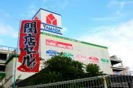 「閉店セール」の旗が出ていたヤマダ電機のテックランドNew江東潮見店=2015年5月下旬、東京都江東区