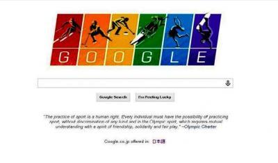 グーグルがソチ五輪に合わせて掲げたトップページのロゴ。レインボーフラッグの6色を配し、反同性愛への抗議を表した=2014年2月