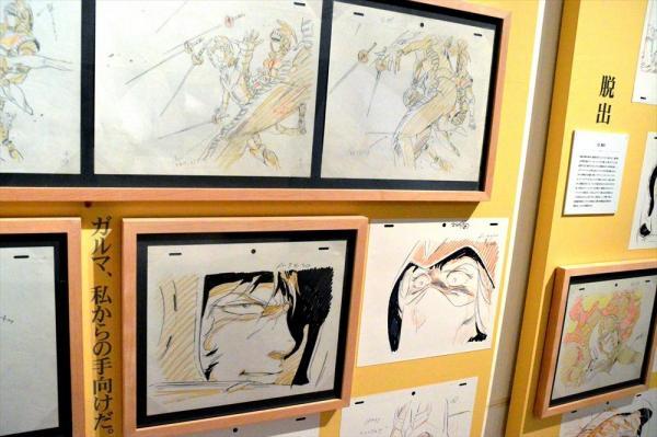 「機動戦士ガンダム展」での安彦良和さんの原画=2014年7月、大阪市港区の大阪文化館・天保山